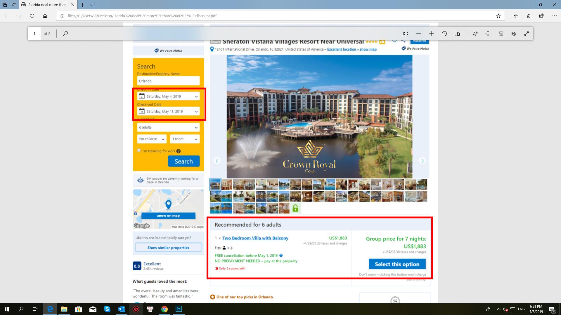deal đặt resort giá rẻ Crown Royal